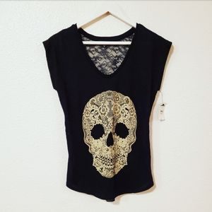 Express Graphic Lace Embellished Muscle Tee